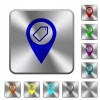 Tagging GPS map location rounded square steel buttons - Tagging GPS map location engraved icons on rounded square glossy steel buttons