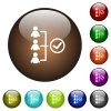 Successful teamwork color glass buttons - Successful teamwork white icons on round color glass buttons