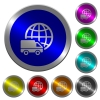 International transport luminous coin-like round color buttons - International transport icons on round luminous coin-like color steel buttons