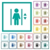 Elevator flat color icons with quadrant frames - Elevator flat color icons with quadrant frames on white background
