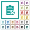 Note cancel flat color icons with quadrant frames - Note cancel flat color icons with quadrant frames on white background