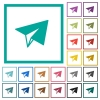 Paper plane flat color icons with quadrant frames - Paper plane flat color icons with quadrant frames on white background