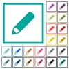 Pencil flat color icons with quadrant frames - Pencil flat color icons with quadrant frames on white background