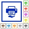 Shared printer flat framed icons - Shared printer flat color icons in square frames on white background