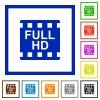 Full HD movie format flat framed icons - Full HD movie format flat color icons in square frames on white background