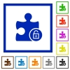 Unlock plugin flat framed icons - Unlock plugin flat color icons in square frames on white background