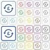 Pound pay back outlined flat color icons - Pound pay back color flat icons in rounded square frames. Thin and thick versions included.