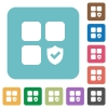 Protected component rounded square flat icons - Protected component white flat icons on color rounded square backgrounds
