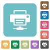 Network printer rounded square flat icons - Network printer white flat icons on color rounded square backgrounds