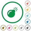 Bomb with sparkling fuse flat icons with outlines - Bomb with sparkling fuse flat color icons in round outlines on white background