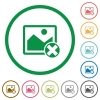 Cancel image operations flat icons with outlines - Cancel image operations flat color icons in round outlines on white background
