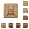 Train wooden buttons - Train on rounded square carved wooden button styles