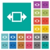 Width tool square flat multi colored icons - Width tool multi colored flat icons on plain square backgrounds. Included white and darker icon variations for hover or active effects.
