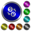 Dollar Ruble money exchange luminous coin-like round color buttons - Dollar Ruble money exchange icons on round luminous coin-like color steel buttons