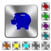 Left facing piggy bank rounded square steel buttons - Left facing piggy bank engraved icons on rounded square glossy steel buttons