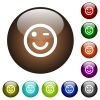 Winking emoticon color glass buttons - Winking emoticon white icons on round color glass buttons