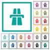 Highway flat color icons with quadrant frames - Highway flat color icons with quadrant frames on white background