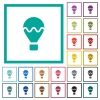 Air balloon flat color icons with quadrant frames - Air balloon flat color icons with quadrant frames on white background