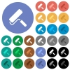 Paint roller round flat multi colored icons - Paint roller multi colored flat icons on round backgrounds. Included white, light and dark icon variations for hover and active status effects, and bonus shades on black backgounds.