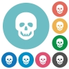 Human skull flat round icons - Human skull flat white icons on round color backgrounds