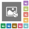 Share image flat icons on simple color square backgrounds - Share image square flat icons