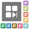 Component next square flat icons - Component next flat icons on simple color square backgrounds