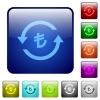 Turkish Lira pay back color square buttons - Turkish Lira pay back icons in rounded square color glossy button set