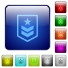 Military rank color square buttons - Military rank icons in rounded square color glossy button set