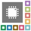 Computer processor square flat icons - Computer processor flat icons on simple color square backgrounds