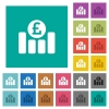 Pound financial graph square flat multi colored icons - Pound financial graph multi colored flat icons on plain square backgrounds. Included white and darker icon variations for hover or active effects.