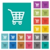 Shopping cart square flat multi colored icons - Shopping cart multi colored flat icons on plain square backgrounds. Included white and darker icon variations for hover or active effects.