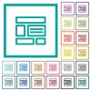 Web layout flat color icons with quadrant frames - Web layout flat color icons with quadrant frames on white background