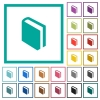 Single book flat color icons with quadrant frames - Single book flat color icons with quadrant frames on white background
