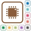 Computer processor simple icons - Computer processor simple icons in color rounded square frames on white background