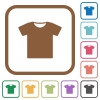 T-shirt simple icons - T-shirt simple icons in color rounded square frames on white background