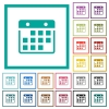 Hanging calendar flat color icons with quadrant frames - Hanging calendar flat color icons with quadrant frames on white background