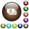Bitcoin banknotes color glass buttons - Bitcoin banknotes white icons on round color glass buttons