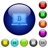 Laptop with Bitcoin sign color glass buttons - Laptop with Bitcoin sign icons on round color glass buttons