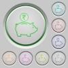 Indian Rupee piggy bank push buttons - Indian Rupee piggy bank color icons on sunk push buttons