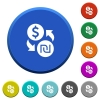 Dollar new Shekel money exchange beveled buttons - Dollar new Shekel money exchange round color beveled buttons with smooth surfaces and flat white icons