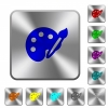 Paint kit engraved icons on rounded square glossy steel buttons - Paint kit rounded square steel buttons