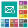 Delete mail square flat multi colored icons - Delete mail multi colored flat icons on plain square backgrounds. Included white and darker icon variations for hover or active effects.