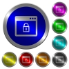 Lock application luminous coin-like round color buttons - Lock application icons on round luminous coin-like color steel buttons
