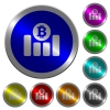 Bitcoin financial graph luminous coin-like round color buttons - Bitcoin financial graph icons on round luminous coin-like color steel buttons