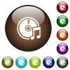 Audio CD color glass buttons - Audio CD white icons on round color glass buttons