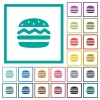 Single hamburger flat color icons with quadrant frames - Single hamburger flat color icons with quadrant frames on white background
