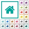 Home flat color icons with quadrant frames - Home flat color icons with quadrant frames on white background