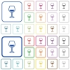 Glass of wine outlined flat color icons - Glass of wine color flat icons in rounded square frames. Thin and thick versions included.