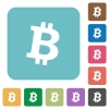 Bitcoin digital cryptocurrency rounded square flat icons - Bitcoin digital cryptocurrency white flat icons on color rounded square backgrounds