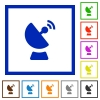 Satellite dish flat framed icons - Satellite dish flat color icons in square frames on white background